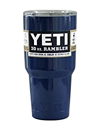 Custom Navy Blue 30 oz Rambler Tumbler Stainless Steel Cup with Lid - Keeps your drink hot or cold!