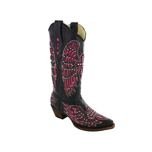 Corral Womens Fuschia Wing Inlay And Cross Embroidery Cowgirl Boot Snip Toe