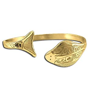 14K Yellow Gold Halibut Bracelet. Made in USA.
