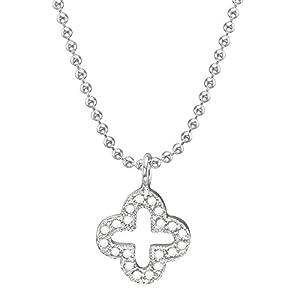 Vinani Chaine Boule Perle 1,2 mm 45 cm - avec pendentif Fleur ouvert lustré Zirconia blanc - Italie de grande qualité - Argent 925 - Collier - KZB45