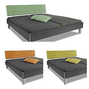 "Juego de ropa de cama "" de Londres de tacto suave De colour verde "" en colour blanco con verde y acolchado de la parte de atrás de la cabeza, 140 x 200 cm, marco de la cama, del marco de la cama, cama doble, matrimonial, de madera maciza/"