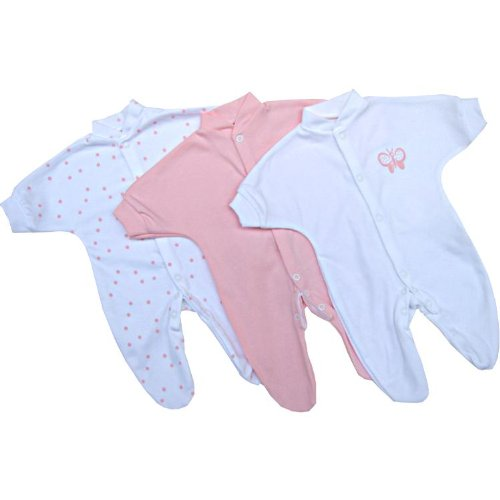 Premature Early Baby Clothes Pack of 3 Sleepsuits