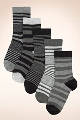 5 Pairs Of Autograph Older Boys' Cotton Rich Assorted Stripe Socks