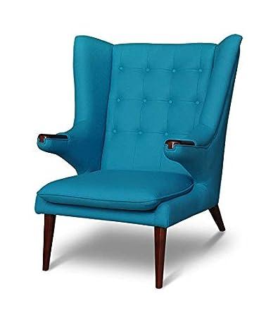 Grande chic Ala sedia Poltrona radiocomandata Poltrona con braccioli Lounge poltrona. Riproduzione in Benzina colorato / Turchese con Noce Legno