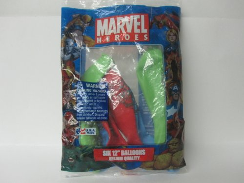 Marvel Heroes 6 Piece 12 Inch Helium Quality Balloons Made in USA