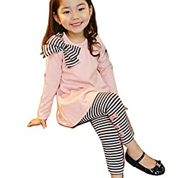 Gaorui 2pcs Baby Girl Kids Bowknot T-shirt Top+pants Leggings Trousers Outfit Clothing