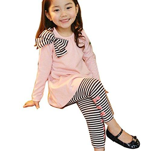 Gaorui Bambina Completo Magliette Maniche Lunghe Pantaloni Leggings Ragazza Bella Fiocco