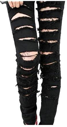 Black Punk Rock Women Ripped Skinny Pants Jeans Leggings Trousers WF-3787