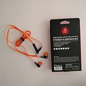 BTL Universal Earphone with Mic - Tangle Free Flat Cable - High Quality Big Bass Sound and Anti Noise Speaker - Orange