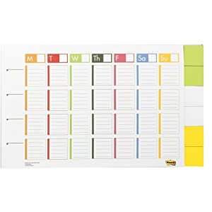 Post-it Weekly Planner, 17 15/16 Inches x 11 15/16 Inches, 52 Sheets plus 2 Inches x 2 Inches Notes (730-CAL-BB)