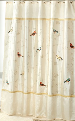 Avanti Linens Gilded Birds Shower Curtain Ivory