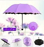 B.H. Select 晴雨兼用 折りたたみ傘 濡れると花咲く花柄模様 bh78 (パープル) bh33-4