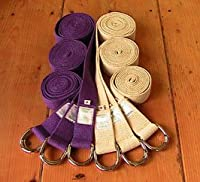 All Cotton D-ring Yoga Strap 8 Foot Purple