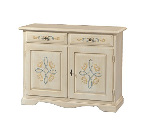 Credenza in legno finitura avorio pennellato con decori, 2 porte e 2 cassetti 105x86