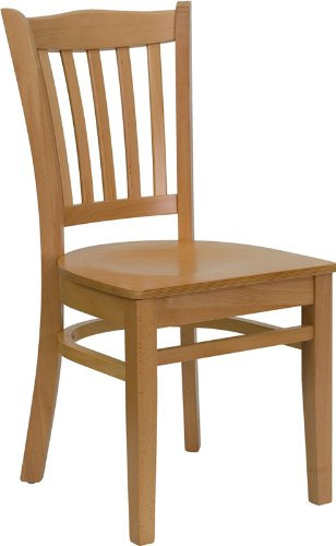 Flash Furniture XU-DGW0008VRT-NAT-GG Hercules Series Natural Wood Finished Vertical Slat Back Wooden Restaurant Chair (Wooden Restaurant Chair compare prices)