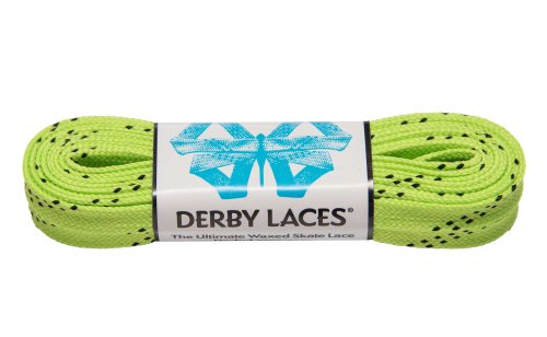 Lime Green 84 Inch Waxed Skate Lace - Derby Laces for Roller Derby, Hockey and Ice Skates, and Boots