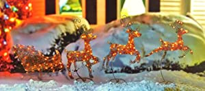 "36"" Gold Swaying Reindeer and Sleigh Lighted Christmas Yard Art Decoration"