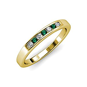 Emerald and Diamond (SI2-I1, G-H) 7 Stone Wedding Band 0.37 ct tw in 14K Yellow Gold.size 9
