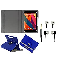 Gadget Decor (TM) PU Leather Rotating 360° Flip Case Cover With Stand For Lenovo Idea Tab A1000 Tablet + Free Handsfree (Without Mic) - Dark Blue