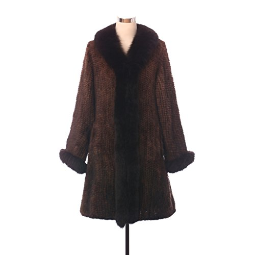 Qiudu Women's Knitted Mink Fur Parka With Raccoon Fur Collar Edge Belt Coffee 2XL