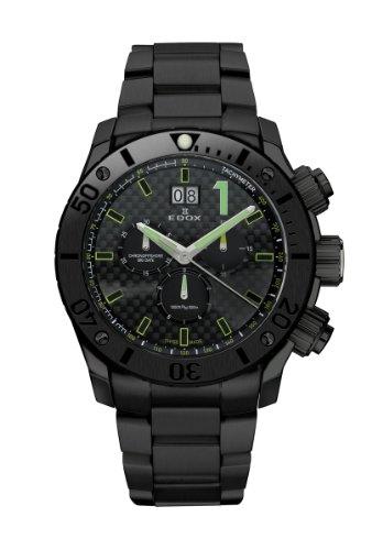 Edox Men's 10021 37N NV Class 1 Black PVD Chrono Rotating Bezel Steel Watch