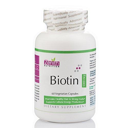 Zenith Nutrition Biotin 5,000mcg ( Vitamin B7 For Hair, Skin & Nails) 60 Capsules