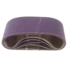 3M 81432 4-Inch x 24-Inch Purple Regalite Resin Bond 100 Grit Cloth Sanding Belt - 5 Pack