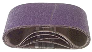 3M 81431 4-Inch x 24-Inch Purple Regalite Resin Bond 80 Grit Cloth Sanding Belt, Pack of 5