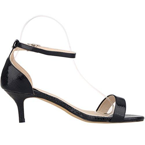 Zbeibei Women's Mid Heels Open Toe Crocodile Grain Summer Shoes Buckle Up Sandals(ZBB1051XEY37,black)