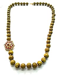 The Beauty Wear's Antique Gold With Black Dot Pendent Necklace Is Very Traditional For Womens.