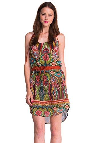 Desigual Damen Empire Kleid EDITH, Aztekisch, Gr. 42 (Herstellergröße: 44), Grün (Lima Fluor 4024) thumbnail