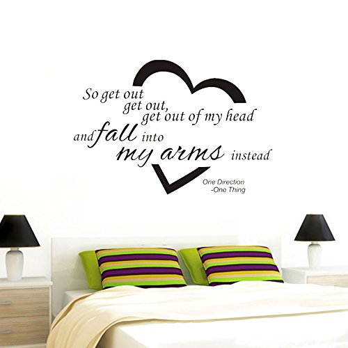 So get out get out, get out of my head and fall into my aims instead One Direction One Thing Quote Viny Decal Removable Art Wall Sticker Home Décor (One Direction Quotes compare prices)