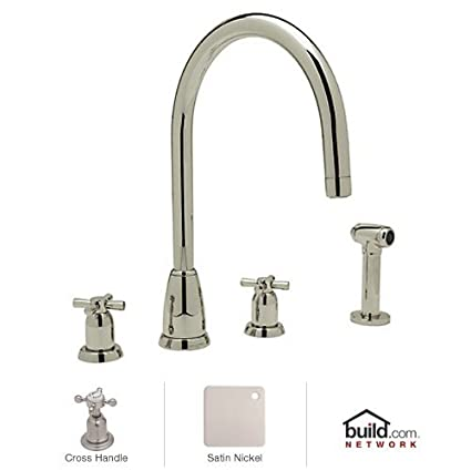 Rohl U.4890X-STN-2 Perrin and Rowe Widespread Kitchen Faucet with Metal Cross Handle, Satin Nickel