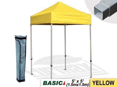 Basic 5X5 Pop Up Canopy Outdoor Gazebo Tent Entry Commercial Level With Carry Bag (Yellow) front-111066