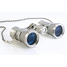 Milana Optics - Opera Glasses - Concert - With Chain - Platinum Finish with Silver Rings