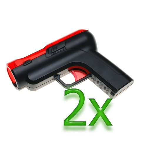 Gtmax 2X Black And Red Shoot Gun For Sony Ps3 Move (Move Dual Shot For Ps3)