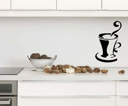 Cup Of Coffee Decal Sticker Art Design Room Kitchen Nice Picture Decor Hall Wall Chu40 front-345061