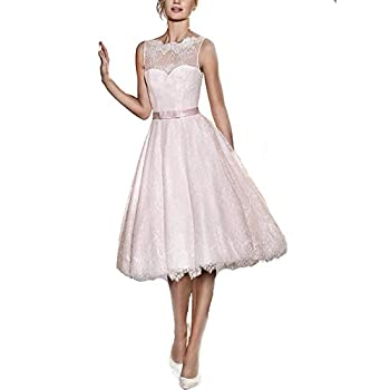 FNKS Women's Tea Length Wedding Dresses Lace 1950s Vintage Dresses Ball Gowns
