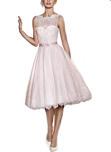 FNKS Women's Tea Length Wedding Dresses Lace 1950s Vintage Dresses Ball Gowns 0