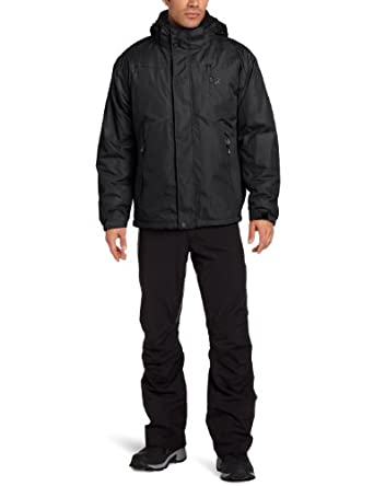 IZOD Men's Solid Three In One Systems Jacket, Black, Large