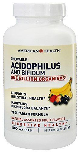 American Health Chewable Acidophilus And Bifidum Natural Assorted Fruit Flavor 100 Wafers