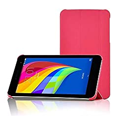SPL Premium Quality Artificial PU Leather folded Book Stand Cover + { Free Screen Guard } For Huawei Mediapad 7 Youth 2 Tablet 7-inch -Pink