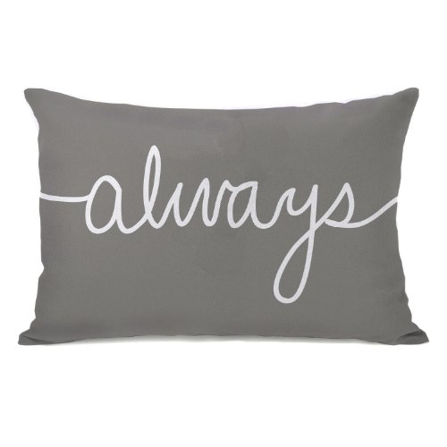 """Bentin Home Decor """"Always"""" Mix + Match Throw Pillow, 14 by 20-Inch, Gray/White"""