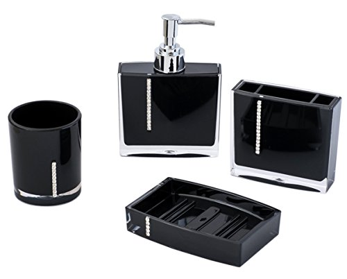 JustNile 4 Piece Bathroom Accessory Set Jewel Series Opaque Black Home Gard