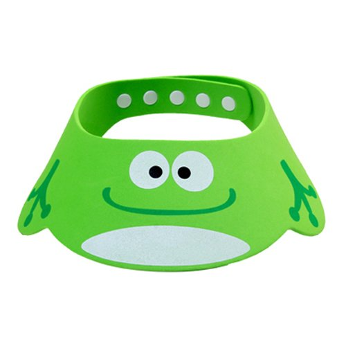 Tobey Baby Kids Cartoon Cute Adjustable Frog Shower Cap Hat Bathroon Shampoo Bath Visor Thick (Green)