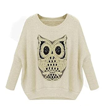 Hee Grand Hibou Image Femme Pull-over Taille Unique Beige