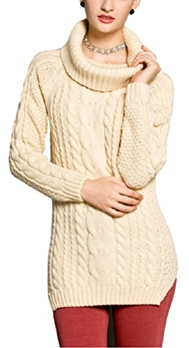V28® Women's Cowl Neck Cable Knit Long Sleeve Knitwear Pullover Sweater (X-Large, Cream) (Cowl Cashmere compare prices)