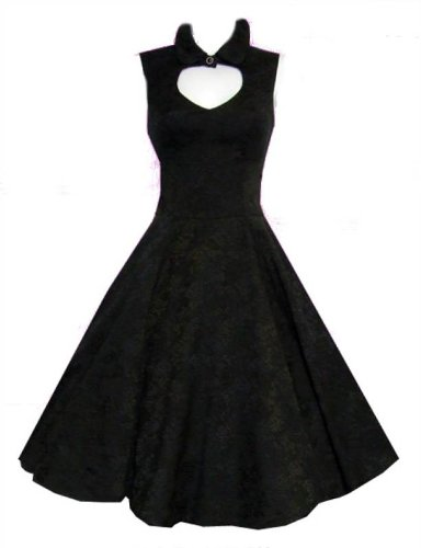 Ladies 1940&#8242;s 1950&#8242;s Vintage Pin-Up Style Black Damask Cut Out