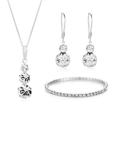 Diamond Style Conjunto de collar, pulsera y pendientes Plateado Única