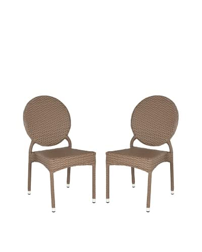 Safavieh Set of 2 Valdez Indoor/Outdoor Stacking Side Chairs, Brown